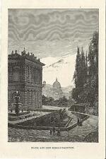 Stampa antica FIRENZE veduta da BOBOLI 1880 Old print Florence Engraving