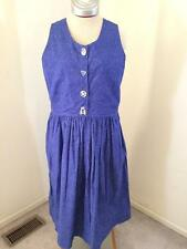 Carolyns Creative Stitchery dress size XL blue floral leaf sleeveless jumper