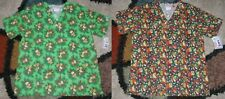 2 pc Christmas V Neck Scrub Top Bottom Pockets Patch Leaves & Bells Print Small