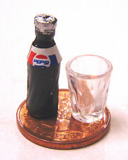 1:12 Small Pepsi Bottle T1 & Glass Tumdee Dolls House Pub Bar Cafe Drink NG