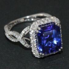 Elegant Princess Cut Blue Sapphire White Gold Plated Ring Wedding Women Jewelry
