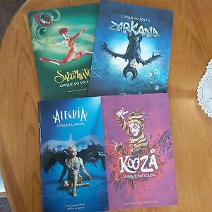 Lot of 4 Cirque Du Soleil Official Programs Saltimbanco Kooza Alegria Zarkana