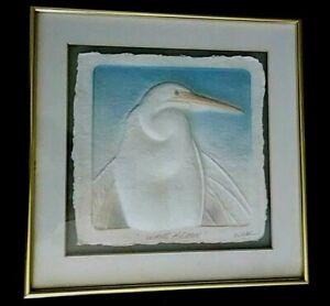 White Heron  3-D Art Signed Wess Framed Handcast Paper ##