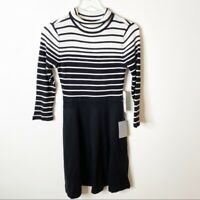 Eliza J Black White Striped Fit & Flare Knit Mock Neck Sweater Dress Small NWT