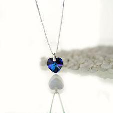Kette, Halskette 925 Silber mit Swarovski Elements Herz Farbe Bermuda Blue