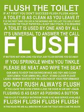 Signe en métal salle de bains règles Chasse Vert Décoratif drôle Mur Porte Plaque Cadeau