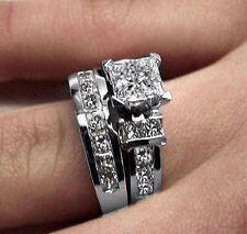 3.05CT PRINCESS DIAMOND ENGAGEMENT WEDDING RING BRIDAL SET 14K WHITE GOLG PD764E