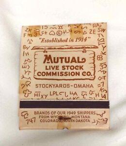 Vintage 1949 LARGE MATCHBOOK OMAHA STOCKYARDS Mutual Live Stock Com Co. UNSTRUCK