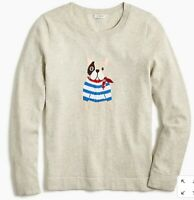 J Crew Womens French Bulldog Frenchie Sailor Teddie Sweater Womens Size L NWT