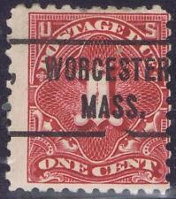 US: Precancel 1914 1c Postage Due J52-L-1E. WORCESTER, MA perf 10 OGH CV 85.00