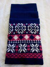 Girl's Navy Blue Cerise Pink & white Vintage Nordic Snowflakes Warm Neck Scarf