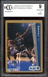 1992-93 Fleer Drake's #37 Shaquille O'neal Rookie Card BGS BCCG 9 Mint+