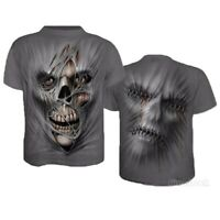 Men Funny Skull 3D Print Casual T-Shirt Fashion Crew Neck Short Sleeve Tops Tee