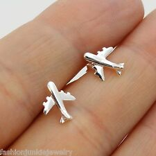 Airplane Stud Earrings - 925 Sterling Silver - Flight Attendant Plane Post NEW