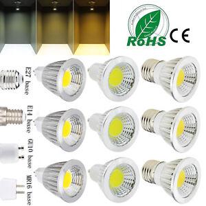 Ultra Bright GU10 MR16 E27 E14 Dimmable 12W 9W 6W COB LED Spotlight Bulbs Bright
