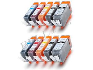 KIT 10 Cartucce Stampante per Canon CLI 521 PGI 520 PIXMA MP540 MP550 MP560