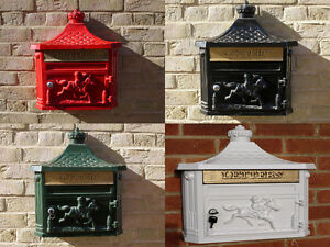 Victorian Traditional Post letter Mail box Wall Aluminium Red/Black