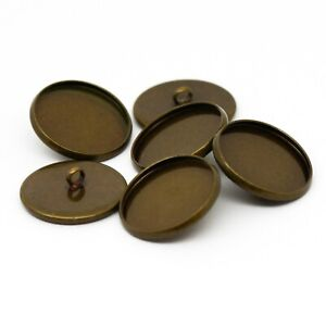 18mm Antique Bronze Shank Button Setting Blanks Fits 16mm Cabochon
