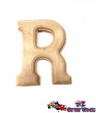 "Small Oak Wood Alphabet Letter ""R"" Natural Brown Uppercase Home Decor Art Craft"