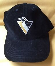 1993 - 2002 PITTSBURGH PENGUINS NHL HOCKEY BASEBALL CAP HAT, BLACK CORDUROY