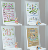 Personalised Peter Rabbit Jemima Puddleduck Print 1st First Birthday Party A4 A3