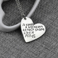 Love Heart Pendants Teachers Necklace Charms Jewelry Silver Tone Chain Gifts