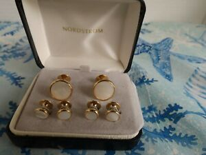 JEWELRY Men's cufflinks matching buttons NORDSTROM Gold Tone Mother of Pearl NIB