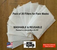 Face Mask Filters 20 Pack Pellon Insert for Pocket | Universal Filter for Masks