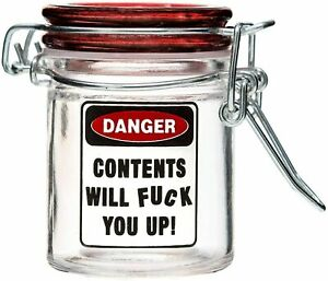 Airtight Glass Mini Stash Jar 1.5 Oz - Contents Will F You Up Design