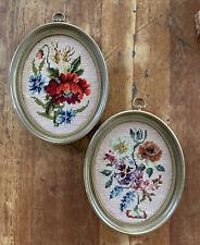 Vintage 1970's Floral Needlepoint Framed Art, 2 Oval Framed Floral Embroidered