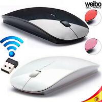 Ratón Mouse Inalambrico Wireless 2.4G 1600DPI Ultrafino Ordenador PC Portátil