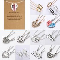 Best Friend Heart Ring Crystal Pendant Splice Necklace Friendship Card Jewellery