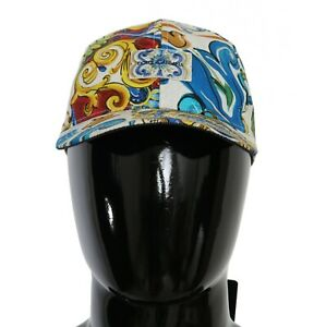 DOLCE & GABBANA Hat Cotton Multicolor Majolica Print Baseball Cap s 60 / XL $400