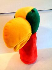"Parrot Bird Hand Puppet  2001 Plush Colorful Appx 12"" Tall Plushpups"