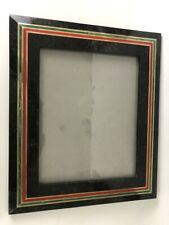 Vintage tessellated black marble frame brass inlaid malachite 8 by 10 stone