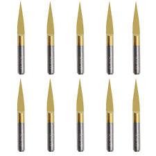10Pcs Titanium Coated Carbide PCB Engraving CNC Bit Router Tools 15 Degree 0.1mm
