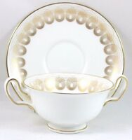 FAB MINT 6 SETS WEDGWOOD BONE CHINA PERSEPHONE W4134 FOOTED CREAM SOUP BOWL GOLD