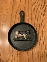 "VTG 4 3/4"" X 7 1/2""tall RUSTIC CAST-IRON ""RAISED COW"" DESIGN MINI WALL SKILLET"