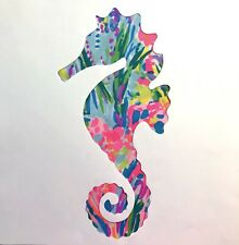 NEW Seahorse pillow made with LILLY PULITZER Fan Sea Pants fabric