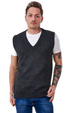 Men's Plain Knitted V Neck Classic Sleeveless Cardigans Tops Jumpers Size S-5xl 4xl Charcoal 100 Acrylic