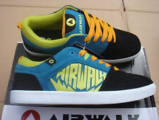 brand NEW Casual, leather AIRWALK CHADWICK Black/Blue/Yellow trainers UK 7