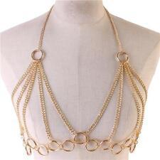 "37"" gold ring link choker collar necklace bra body chain swim suit bikini"