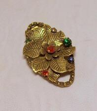 Glass Flowers/Plants Gold Art Deco Costume Jewellery