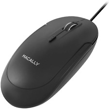 Macally Silent USB Mouse Wired for Apple Mac or Windows PC Laptop/Desktop Comput