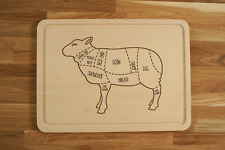 Personalized Engraved Chopping Cutting Board with Lamb Butcher Sheep Diagram