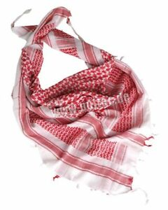 Plo Neckerchief Scarf Palestinian Shemagh White/Red Camo Scarf Army White Red