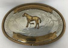Vintage Belt Buckle German Silver Horse