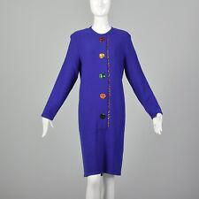 L Blue Dress 1980s Cobalt Long Sleeve Drop Waist Rainbow Buttons Winter 80s VTG