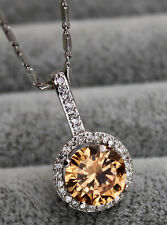 18K White Gold Filled - 9MM Morganite Topaz Zircon Hollow Pendant Party Necklace