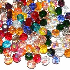 CZL41 Assorted Color Fire-Polished Faceted 8mm Round Czech Glass Beads 50pc